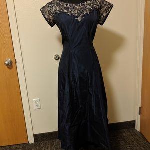 Formal vintage 1950s navy blue dress